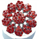 Red Diamante Large Daisy Pave Flower Ring