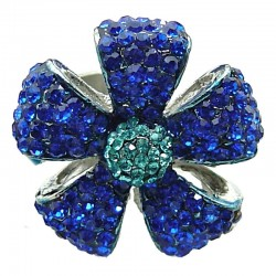 Royal Blue Diamante Pave Petal Large Bold Flower Ring