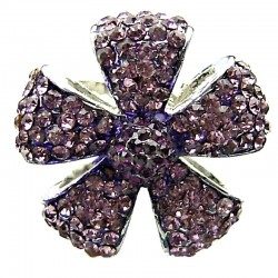 Bib Statement Costume Jewellery, Fashion Lilac Diamante Pave Petal Large Bold Flower Ring