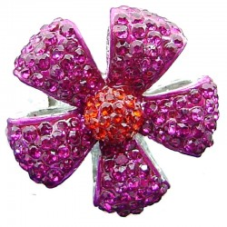 Chic Bib Statement Costume Jewellery, Big Pink Diamante Pave Petal Large Bold Fashion Flower Ring