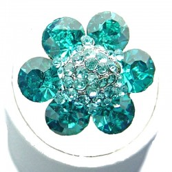 Aqua Blue Rhinestone Petal Diamante Marigold Flower Ring