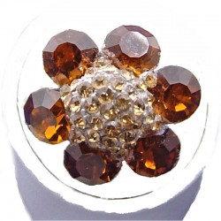 Chic Fashion Costume Jewellery, Bib Brown Rhinestone Petal Diamante Marigold Flower Ring