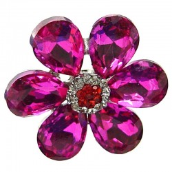 Hot Pink Large Teardrop Rhinestone Petal Bold Daisy Flower Ring