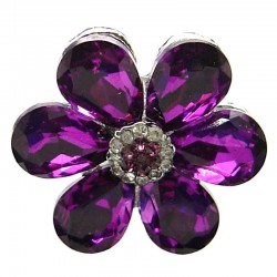 Purple Large Teardrop Rhinestone Petal Bold Daisy Flower Ring