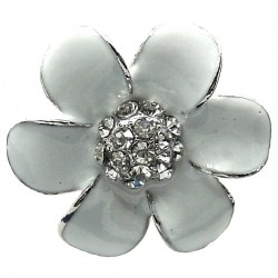 White Enamel Clear Diamante Daisy Large Flower Ring