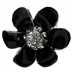 Black Enamel Clear Diamante Daisy Large Flower Ring