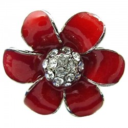 Big bold Statement Costume Jewellery, Red Enamel Clear Diamante Daisy Large Fashion Flower Ring