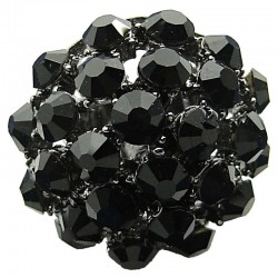 Big Bold Costume Jewellery, Chic Fashion Black Diamante Pave Big Crystal Ball Chunky Statement Ring
