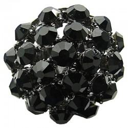 Big Bold Costume Jewellery, Chic Fashion Black Diamante Pave Big Crystal Ball Chunky Statement Ring