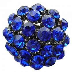 Big Bold Costume Jewellery, Chic Fashion Bib Royal Blue Diamante Pave Big Crystal Ball Chunky Statement Ring