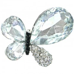 Big Bold Statement Costume Jewellery, Clear Large Teardrop Rhinestone Chunky Butterfly Fashion Cocktail Ring