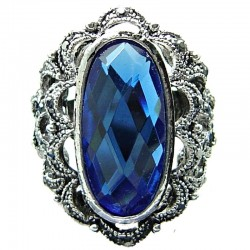 Big Bold Fashion Jewellery, Royal Blue Large Oval Rhinestone Cool Statement Costume Cocktail Ring