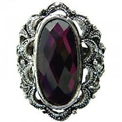 Big Bold Costume Jewellery, Cool Fashion Purple Large Oval Rhinestone Statement Cocktail Ring