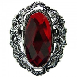 Big Bold Costume Jewellery, Cool Fashion Red Large Oval Rhinestone Statement Cocktail Ring