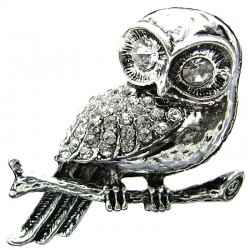 Big Large Bold Costume Jewellery, Cool Fashion Clear Diamante Owl Chunky Statement Ring