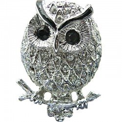 Big Bold Costume Jewellery, Cool Fashion Clear Diamante Black Eyes Large Owl Chunky Statement Ring