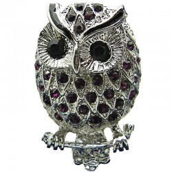 Big Bold Costume Jewellery, Cool Fashion Purple Diamante Black Eyes Large Owl Chunky Statement Ring