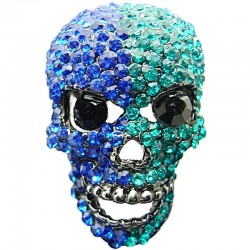 Bling, Hip Hop, Fun Costume Jewellery, Royal Blue & Green Diamante Skull Cool Fashion Statement Ring