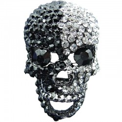 Bling, Hip Hop Fun Costume Jewellery, Big, Bold, Large Chunky Fashion Black & Clear Diamante Skull Cool Statement Ring