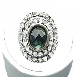 Double Clear Diamate Halo Grey Oval Rhinestone Dress Ring