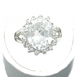Bib Chic Classic Costume Jewellery, Clear Oval Cubic Zirconia Clear CZ Fashion Halo Dress Ring