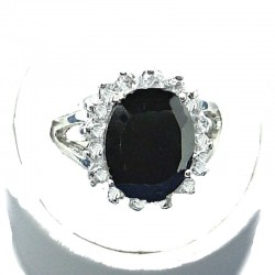 Black Oval Cubic Zirconia Clear CZ Halo Dress Ring