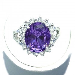 Classic Dressy Costume Jewellery, Purple Oval Cubic Zirconia Clear CZ Fashion Halo Dress Ring