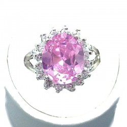 Timeless Costume Jewellery, Pink Oval Cubic Zirconia Clear CZ Halo Fashion Dress Ring