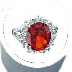 Red Oval Cubic Zirconia Clear CZ Halo Dress Ring