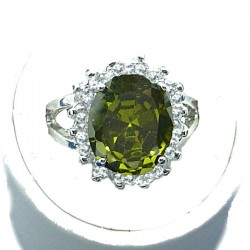 Timeless Costume Jewellery, Green Oval Cubic Zirconia Clear CZ Halo Dress Ring