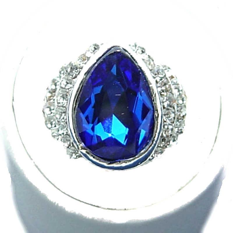 Timeless Costume Jewellery Royal Blue Teardrop Rhinestone Classic Fashion Dress Ring .