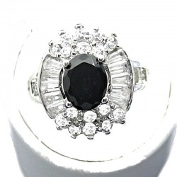 Timeless Costume Jewellery, Black Oval Cubic Zirconia Clear CZ Cluster Dress Ring