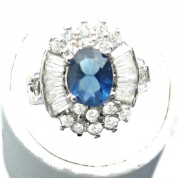 Timeless Costume Jewellery, Royal Blue Oval Cubic Zirconia Clear CZ Cluster Dress Ring