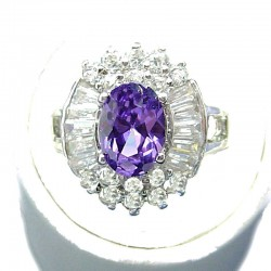 Fashion Bib Costume Jewellery, Purple Oval Cubic Zirconia Clear CZ Cluster Dress Ring