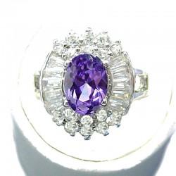 Fashion Bib Costume Jewellery, Purple Oval Cubic Zirconia Clear CZ Cluster Dress Ring