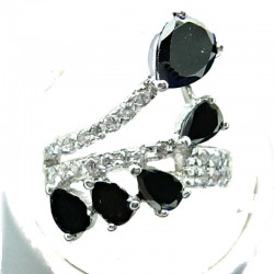 Fashion Statement Costume Jewellery, Black Teardrop Cubic Zirconia Crossover Spray CZ Cocktail Ring