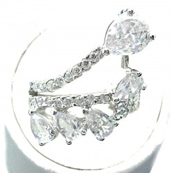 Fashion Statement Costume Jewellery, Clear Teardrop Cubic Zirconia Crossover Spray CZ Cocktail Ring