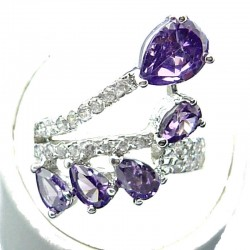 Fashion Statement Costume Jewellery, Purple Teardrop Cubic Zirconia Crossover Spray CZ Cocktail Ring
