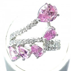 Fashion Statement Costume Jewellery, Pink Teardrop Cubic Zirconia Crossover Spray CZ Cocktail Ring