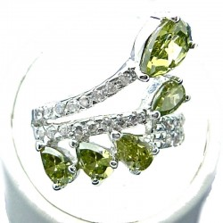 Fashion Statement Costume Jewelolery, Green Teardrop Cubic Zirconia Crossover Spray CZ Cocktail Ring