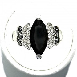 Chic Costume Jewellery, Black Navette Marquise Cut Rhinestone Fashion Fancy Dress Ring