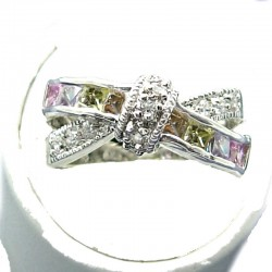 Chic Love Costume Jewellery, Multi Colour Cubic Zirconia Crossover CZ Knot Fashion Dress Ring
