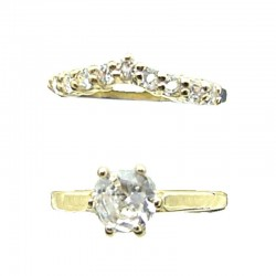 Clear Cubic Zirconia 2-Piece Solitaire Wishbone CZ Gold Plated Duo Costume Ring Sets