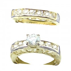 Clear Cubic Zirconia 2-Piece Solitaire Channel Set Half Eternity CZ Gold Plated Duo Costume Ring Secret Message Sets