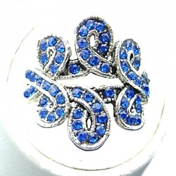 Chic Costume Jewellery, Royal Blue Diamante Twist Wave Fashion Ring