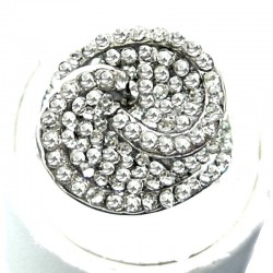 Chic Costume Jewellery, Bib Clear Diamante Pave Swirl Fashion Ring