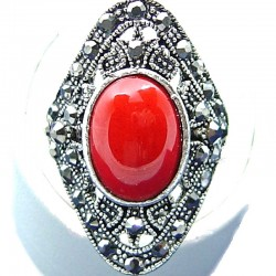 Costume Jewellery, Fashion Red Jasper Oval Natural Stone Marcasite Long Statement Cocktail Filigree Ring