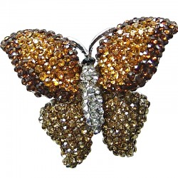 Cute Costume Jewellery, Fun Fashion Autumn Theme Brown Diamante Pave Chunky Butterfly Large Statement Ring