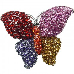 Cute Costume Jewellery, Fun Fashion Summer Theme Multi Colour Diamante Pave Chunky Butterfly Large Statement Ring