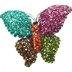 Bold Cute Costume Jewellery, Spring Theme Multi Colour Diamante Pave Chunky Butterfly Large Statement Fashion Ring